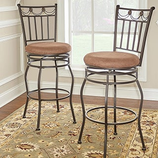 Linon Guapo Powder Coated Bar Stool, Brown Fabric