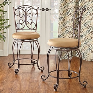 Linon Mariposa Metal Counter Stool Light Brown Polyester