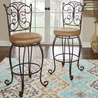 Linon Mariposa Metal Bar Stool Light Brown Polyester