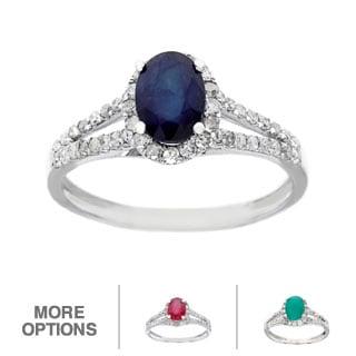 Viducci 10k White Gold 1/2ct TDW Diamond and Genuine Multi-gemstone Ring (G-H, I1-I2)