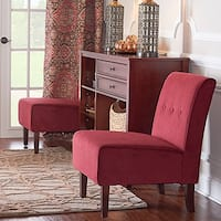 Laurel Creek Douglas Bright Red Button Tufted Lounge Chair
