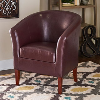 Linon Andrew Barrel Blackberry Upholstered Club Chair