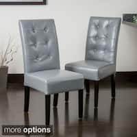 Christopher Knight Home Jace Button Tufted Leather Dining Chair (Set of 2)