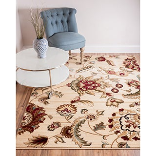 Well Woven Transitional Oriental Garden Floral Ivory, Red, Green, and Beige Area Rug (5'3 x 7'3)