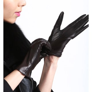 Touch Screen Women's Lambskin Leather Texting Gloves