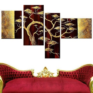 Hand-painted Modern Bonsai Tree 4-piece Painting Set