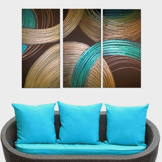 'Abstract Blue and Gold' 3-piece Hand-painted Oil on Canvas