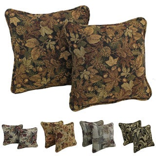 Blazing Needles Floral Corded Tapestry Pillow (Set of 2)