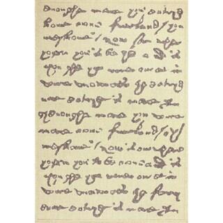 nuLOOM Indoor/ Outdoor Novelty Script Poem Grey Rug (9' x 12')