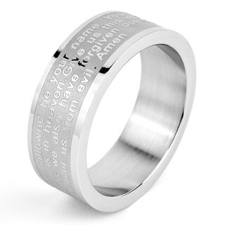 Stainless Steel Men's Lord's Prayer Cross Ring - White