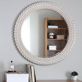 Design Craft Silvertone Round Link Wall Mirror