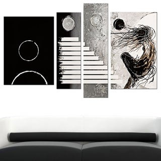 Unknown 'Modern Woman' Hand-painted 4-piece Canvas Art