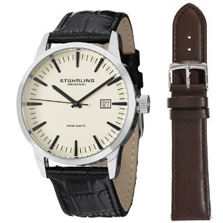 Stuhrling Original Men S Ascot 42 Watch Set Swiss Quartz Interchangeable Strap Watch