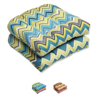 Pillow Perfect Zig Zag Wicker Outdoor Seat Cushions (Set of 2)