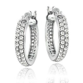 Sterling Silver 1/2ct TDW Diamond Hoop Earrings