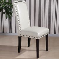Royal comfort collection Classic Faux Leather Nailhead Trim Parson Chair (Set of 2)