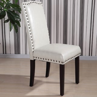Charmant Royal Comfort Collection Classic Faux Leather Nailhead Trim Parson Chair  (Set Of 2)