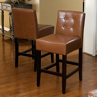 Tate Tufted Leather Counter Stools (Set of 2) by Christopher Knight Home