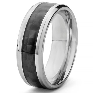 Crucible Men's Stainless Steel and Black Carbon Fiber Comfort Fit Band Ring (8mm)