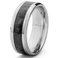 Crucible Black Carbon Fiber Comfort Fit Stainless Steel Ring (8mm) - White