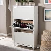 Baxton Studio Simms 3-tier White Wood Modern Shoe Cabinet