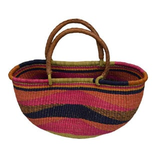 Hand-woven Multicolored Straw Utility Basket , Handmade in Ghana