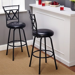 Simple Living Seneca Black Adjustable-height Swivel Bar Stools (Set of 2)