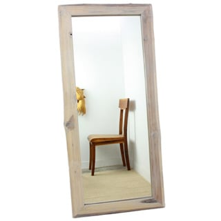 Handmade Antique White Reclaimed Teak Wood Full-length Mirror (Thailand)