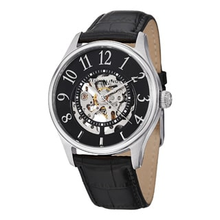 Stuhrling Original Men's Solaris Automatic Skeleton Leather Strap Watch Set