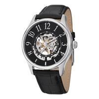 Stuhrling Original Men's Solaris Automatic Skeleton Leather Strap Watch Set - black