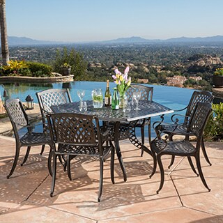 Outdoor Cayman 7-piece Cast Aluminum Bronze Dining Set by Christopher Knight Home