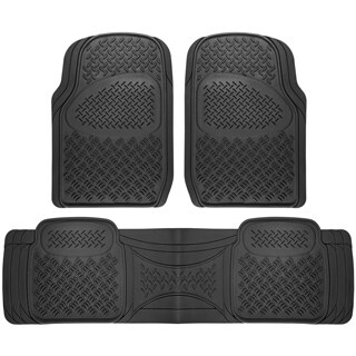 OxGord Diamond Rugged 3-piece All-weather Rubber Automotive Floor Mat Set (2 options available)