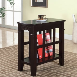 Furniture of America Larza Espresso End Table with Bottom Shelf