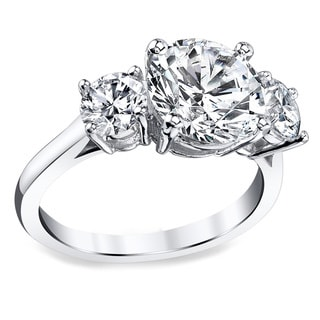Platinum 3 1/2ct TDW Certified Round Diamond Engagement Ring