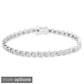 Finesque Sterling Silver Diamond Accent S-link Tennis Bracelet