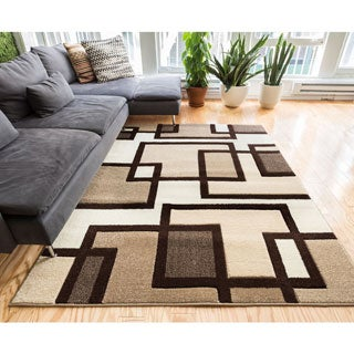 Imagine Hand-carved Boxes and Lines Brown Beige and Ivory Area Rug (7'10 x 9'10)