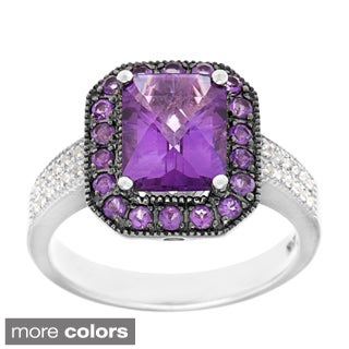 Sofia Sterling Silver Amethyst or Garnet and White Topaz Ring