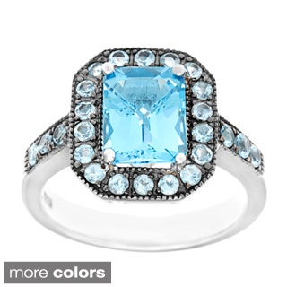 Sofia Sterling Silver Blue Topaz or Garnet Ring