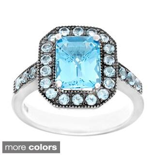 Sofia Sterling Silver Blue Topaz or Garnet Ring