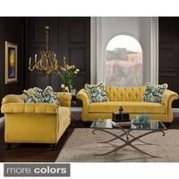 Furniture of America Visconti 2-piece Premium Velvet Sofa and ...