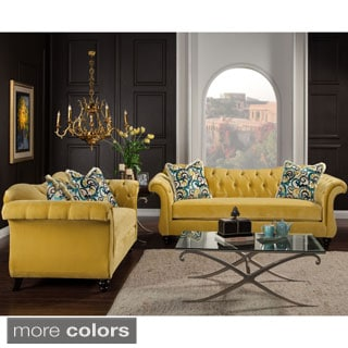 Furniture Of America Agatha 2 Piece Tufted Velvet And Hardwood Sofa And  Loveseat Set. Sale