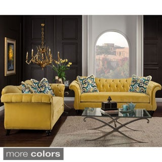 Furniture of America Agatha 2-piece Tufted Velvet and Hardwood Sofa and Loveseat Set
