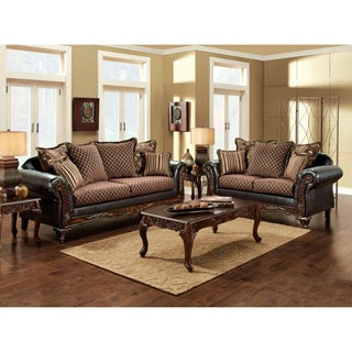 Furniture of America San Rozue 2-piece Fabric/ Leatherette Sofa and Loveseat Set