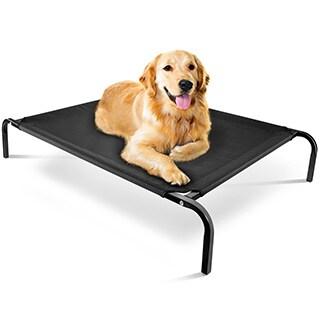 OxGord Cat/ Dog Steel-Framed Elevated 43.5 x 29.5-inch Black Fabric Pet Bed