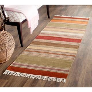 Safavieh Hand-woven Striped Kilim Red Wool Rug (2'3 x 6')