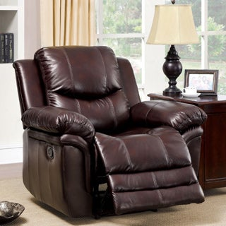 Furniture of America Carlisel Brown Leather-like Fabric Recliner