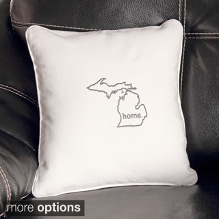 Personalized Home State Embroidered Cotton Throw Pillow