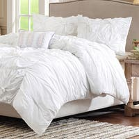 Madison Park Maxine White Cotton 4-piece Comforter Set
