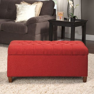 HomePop Cranberry-red Linen Tufted Storage Bench