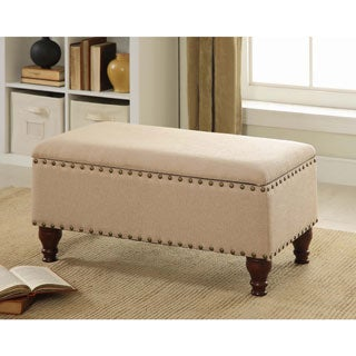 Homepop Vanilla Linen Nailhead Storage Bench